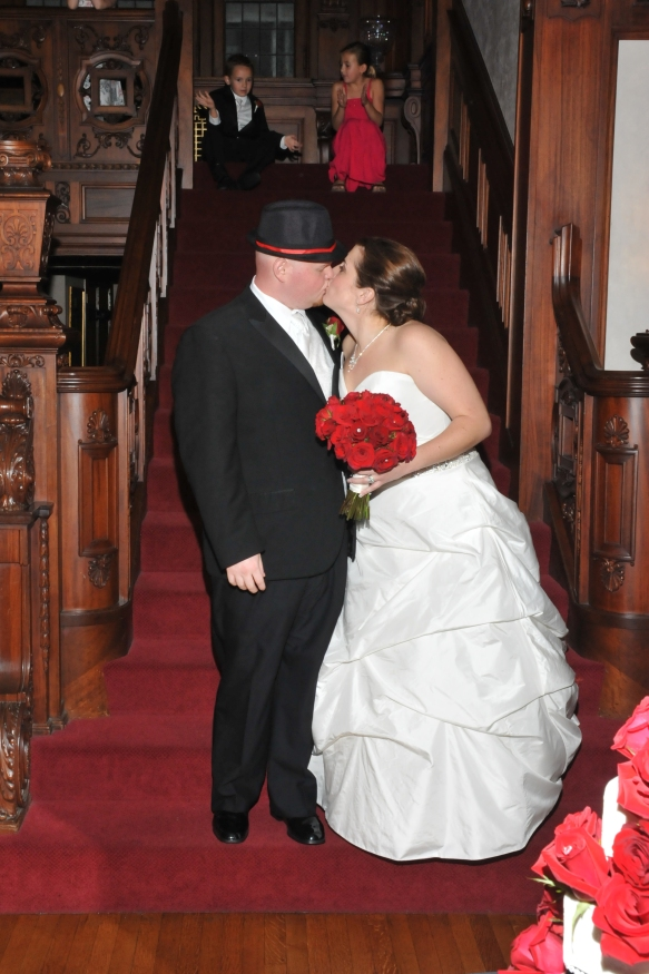 KC Wedding couple Kissing