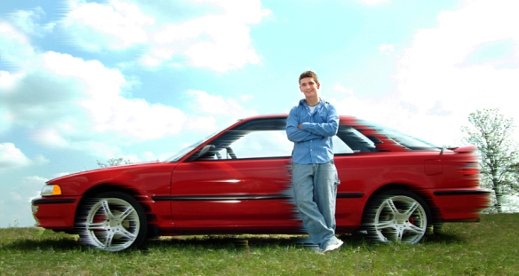 KC Senior with car