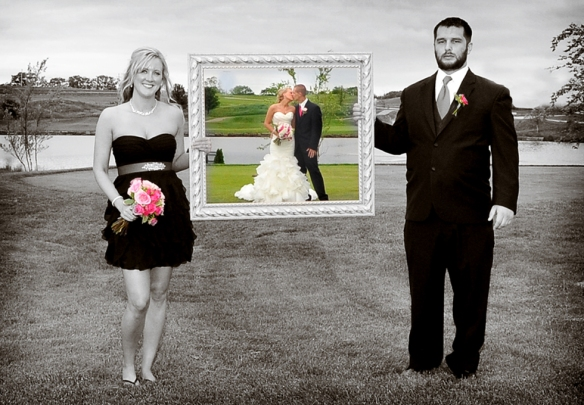 bride and groom in frame