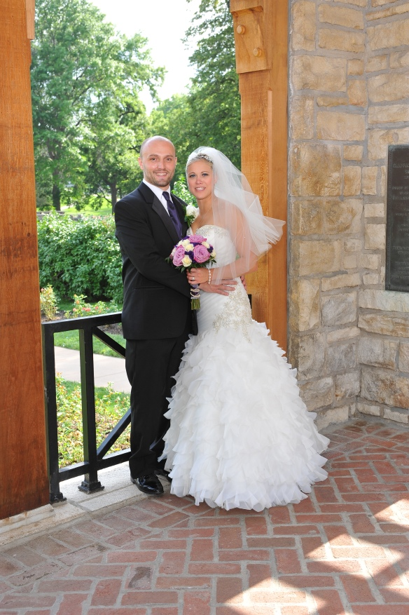 Wedding couple at Loose park KC