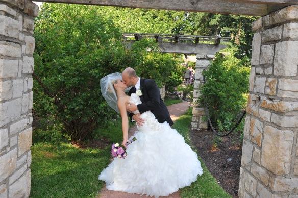Wedding couple dipping