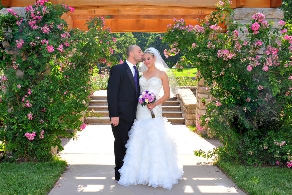 Loving wedding couple